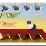 屋根の上、猫とこいのぼり