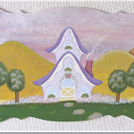 紫の屋根のお家のボード