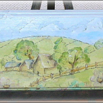 水彩画風の風景画ボード